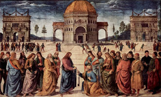 Христос передает Петру ключ от Царствия небесного (П. Перуджино)