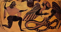 Битва Зевса с Тифоном (рисунок амфоры, 550 г. до н.э.)